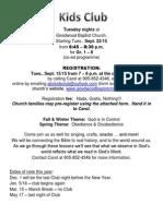 Registration Letter for Church Families 2015-16