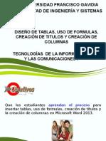 Diseño de Tablas Uso de Formulas Creacion de Titulos y Columnas Año 2014