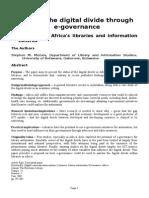 Bridging the Digital Divide Through E-Governance
