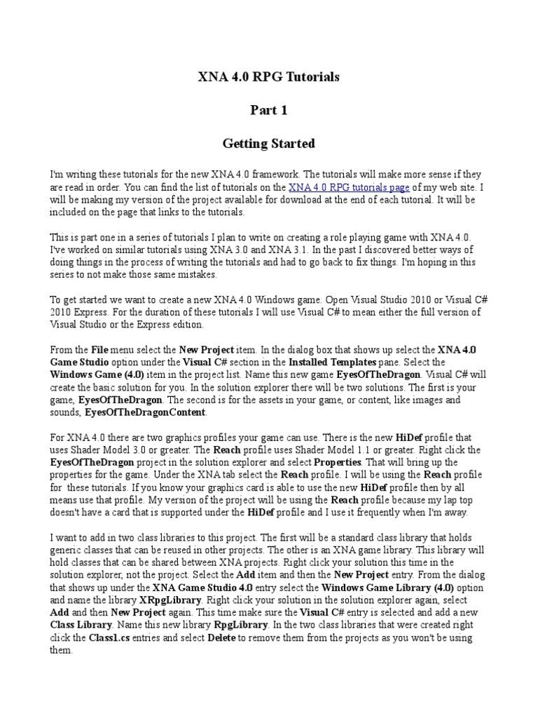 XNA 4 0 RPG Tutorials Part 1 | Class (Computer Programming