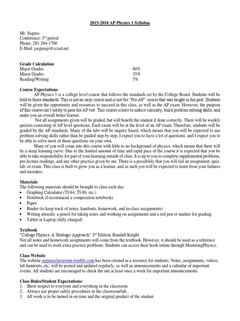 segura ap physics 1 syllabus 2015-16 edit | Homework | Test