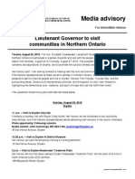 Lieutenant Governor to visit communities in Northern Ontario