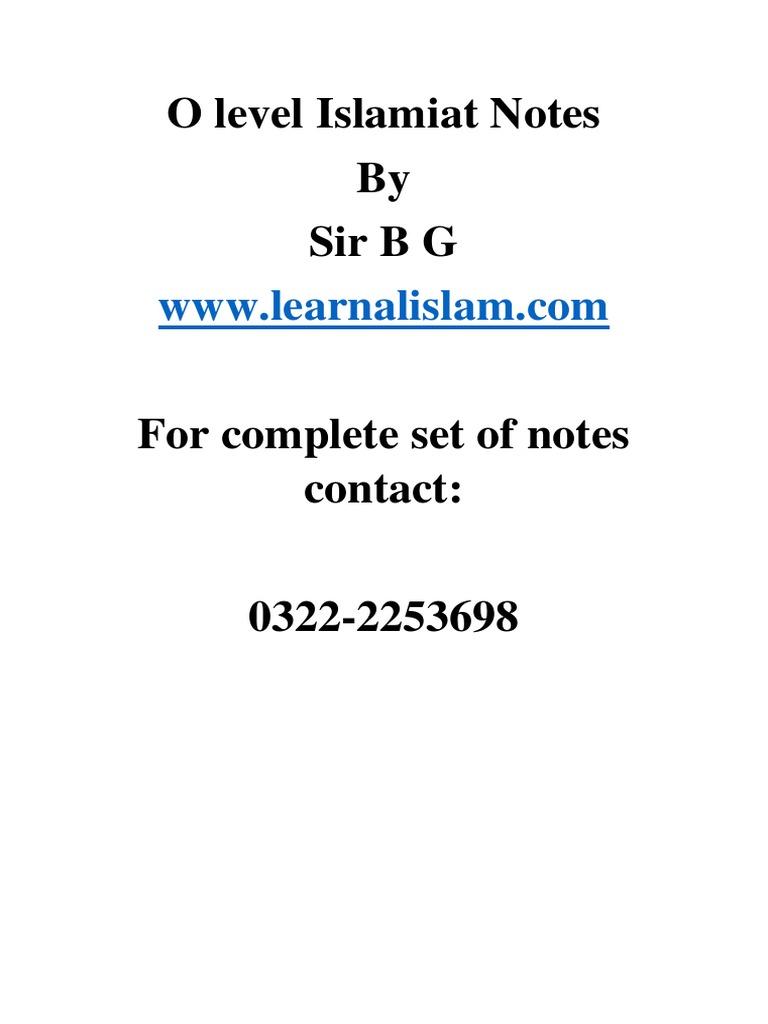 urinra • Blog Archive • Zafar alam islamiat notes pdf