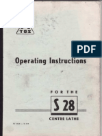 TOS S28 Lathe Manual - English