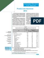Produccion Nacional Diciembre 2012
