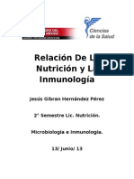 Relacion de La Nutrición y La Inmunología