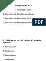 Soal Pre Test K3RS