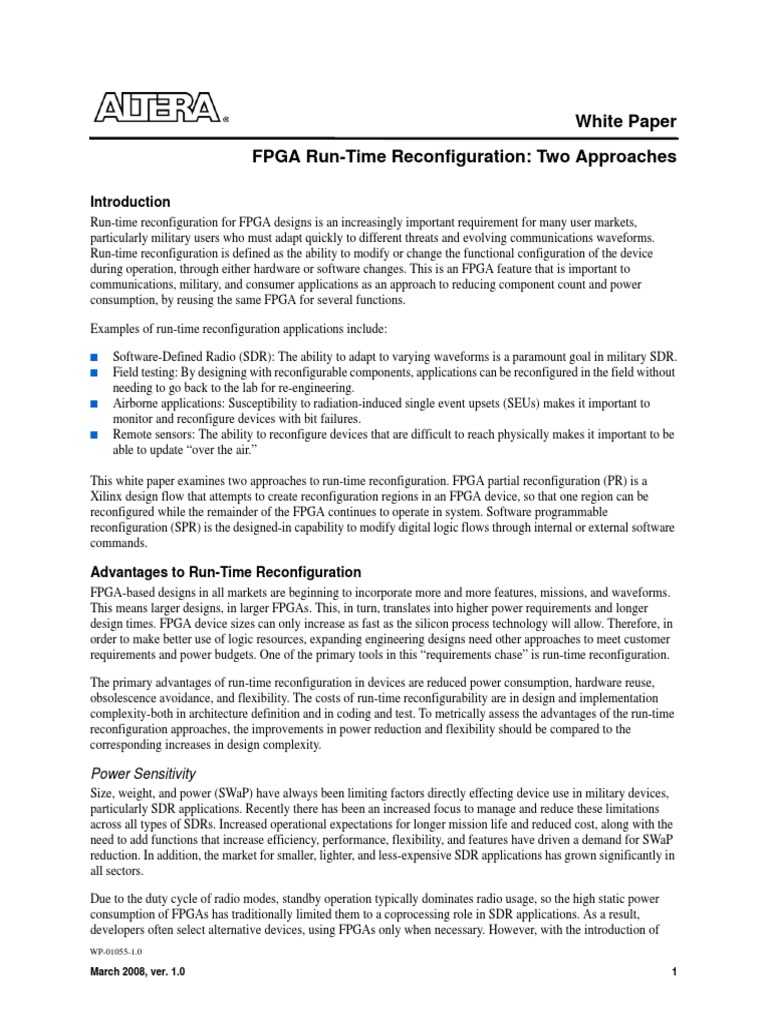 Fpga run time reconfiguration field programmable gate array software defined radio
