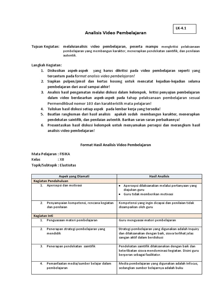 11 Lk 4 1 Analisis Video Pembelajaran