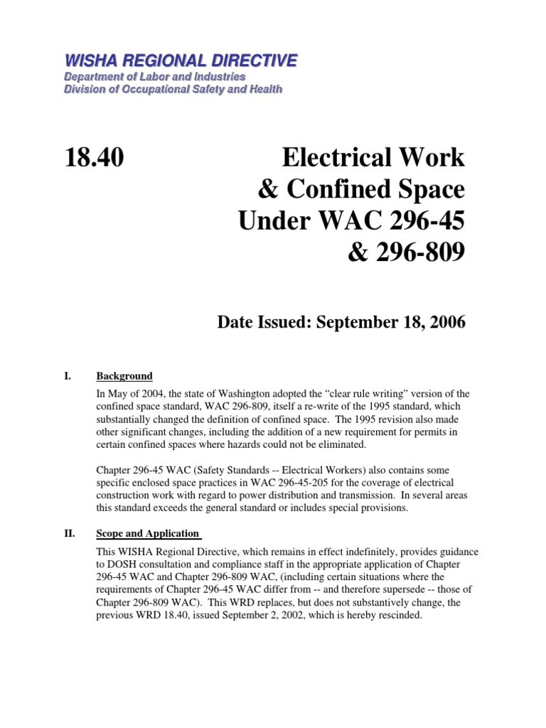 electrical work in confined space | safety | politics