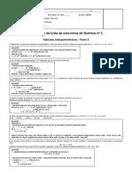Resolucao Da Lista de Exercicios 3 - Calculos Estequiometricos - Parte 2 - 1 Bimestre 2013 - 2 Series