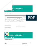 Certificado Asistencia Intervención Familiar