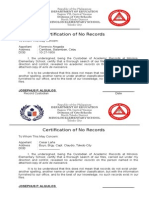 Certification of No Records