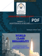 Lecture 7 - Maintenance & Reliability