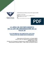 2015 - 08 - Agosto - 24- Villa 20 - 10 Años de Incumplimiento de La Ley de Urbanización 1770