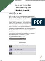Transcript of Secret Meeting Between Julian Assange and Google CEO Eric Schmidt
