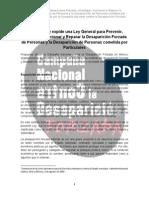 Iniciativa de Ley General para Prevenir, Investigar, Sancionar y Reparar la desaparición forzada de Personas y la Desaparición de Personas cometida por particulares