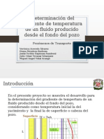 Predicción de Temperatura en un pozo con fluido monofasico