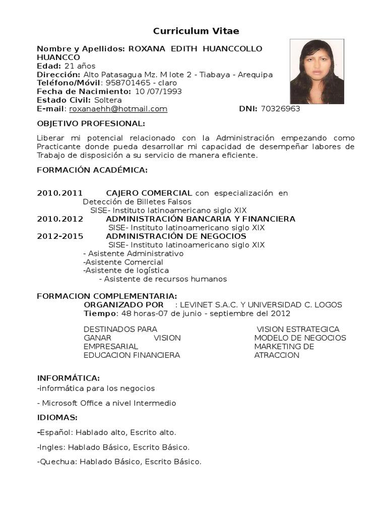 Único Formato De Curriculum De Trabajo Bancario Para Freshers Foto ...