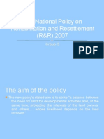 The National Policy on Rehabilitation and Resettlement (