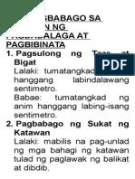 1. Mga Pagbabago Sa Panahon Ng Pagdadalaga at Pagbibinata