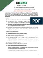 Edital 012 2014 Assistente Administrativo PcD