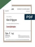 Convex Optimization Certificate
