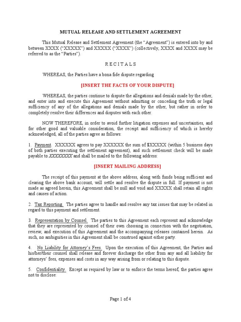 Sample california mutual release and settlement agreement sample california mutual release and settlement agreement settlement litigation contractual term platinumwayz