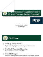 FY 2016 Dept of Agriculture Budget