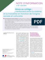 DEPP NI 2015 25 Acquis Eleves College Ecarts Origine Sociale Culturelle