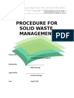 Procedure for Solid Waste Magt