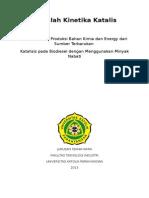 Reaksi Kinetika Katalis pada Biodiesel