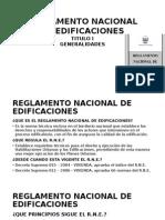 Reglamento Nacional de Edificaciones GENERALIDADES