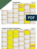 Kalender 2015 Baden Wuerttemberg Querformat