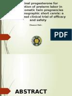 Vaginal Progesterone for Prevention of Preterm Labor In