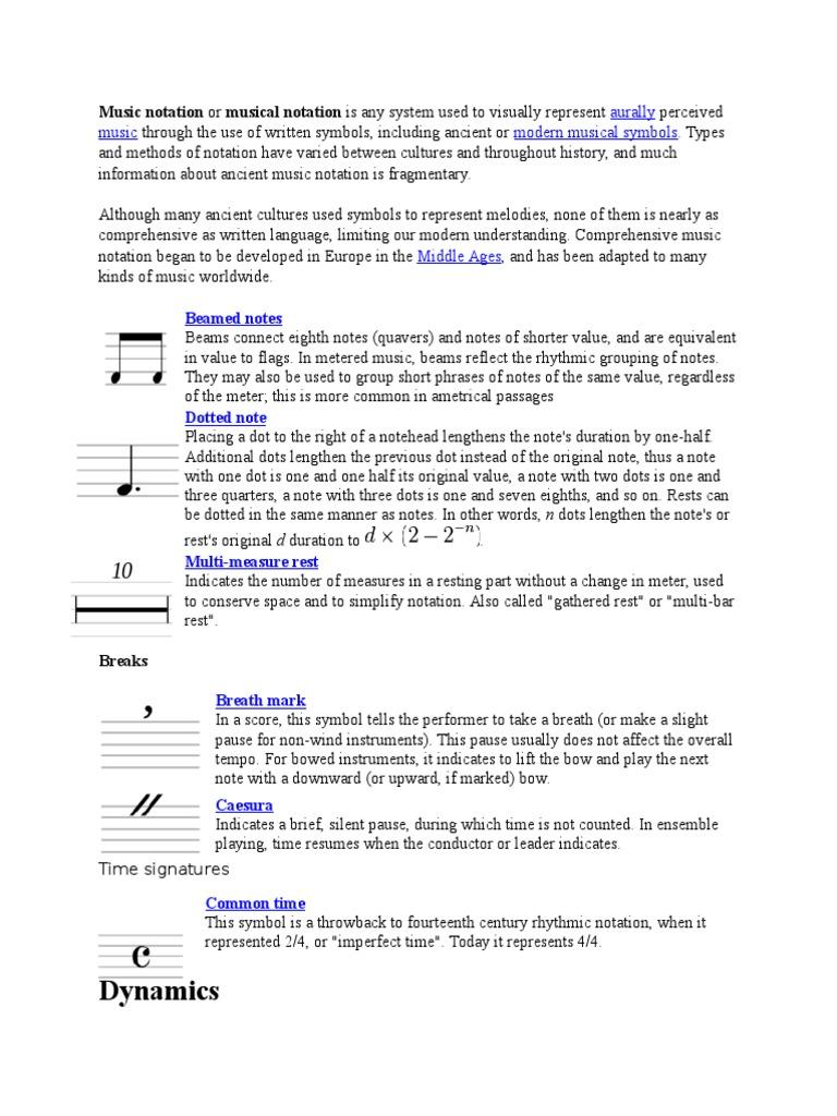 Notes Musical Notation Notation