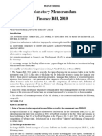 Explantory Memorandum Finance Bill 2010
