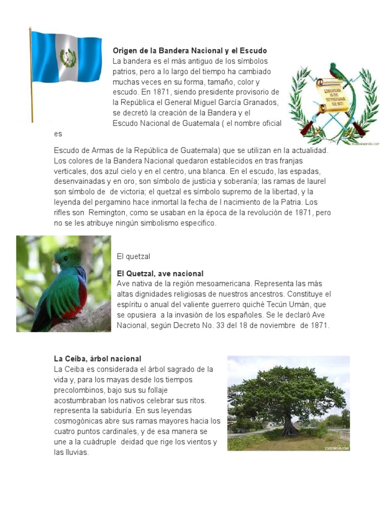 Historia De Los Simbolos Patrios Guatemala Personas