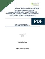 Determinación de Inversiones y Gastos en Renovables Colombia