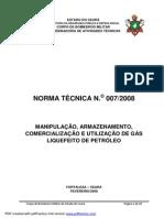 CBMCE NT007 (2008) - Manipulação, Armazenamento, Comercialização e Utilização de Gás Liquefeito de Petróleo