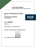 HR Summer Internship Project