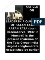 Article on Leadership Qualitiy of Ratan Tata