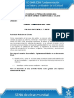 Actividad de Aprendizaje Unidad 4 Calidad Enfocada Al Cliente. Jaime Lopez