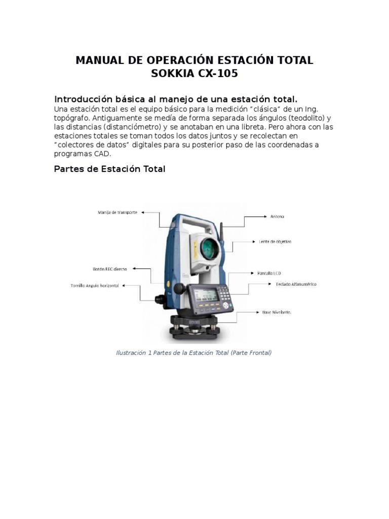 manual de operaci n estaci n total sokkia cx rh es scribd com  manual para estacion total sokkia cx 105