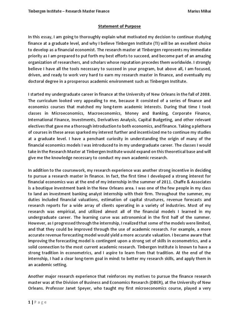 Statement of Purpose Tinbergen Institute - Marius Mihai | Graduate