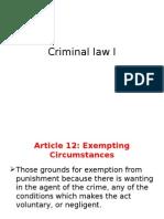 Criminal Law I. Lecture