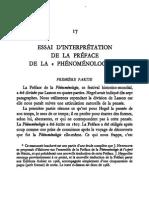 Hypollite - Essai d'interprétation de la Préface de la PhG