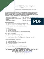 Undergraduate Writing Center Information