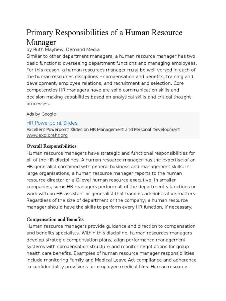 Primary Responsibilities of a Human Resource Manager   Human