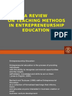 A Review on teaching methods in Entrepreneurship education